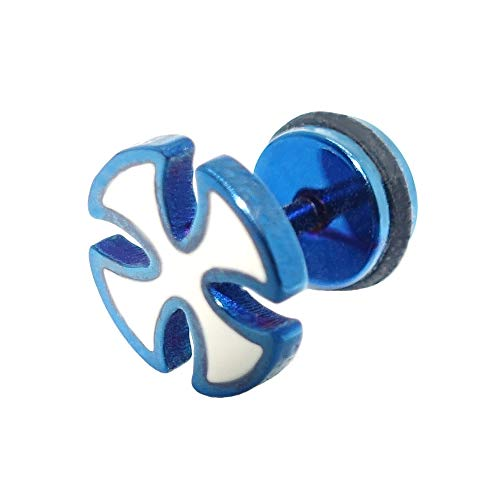 BlackAmazement Pendiente falso dilatador de acero inoxidable 316L, diseño de cruz celta de hierro, color azul, blanco, para hombre y mujer