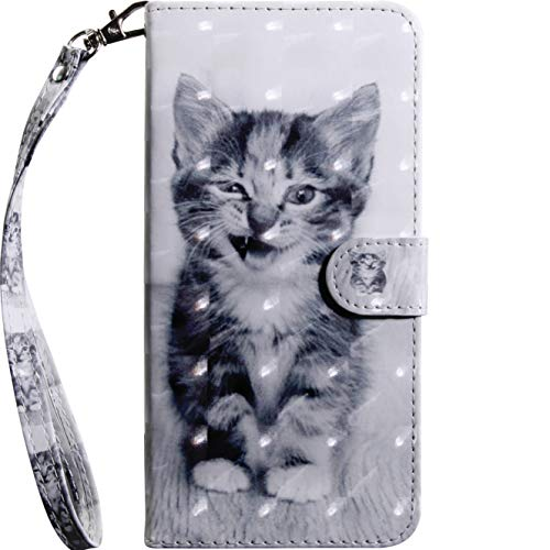 Handytasche für Samsung Galaxy A40 Handyhülle Schutzhülle Ledertasche Bookstyle 3D Muster Flip Hülle Ständer Wallet Hülle mit Motiv Tiermuster Brieftasche Kartensteckplätzen Klapphülle Stoßfest