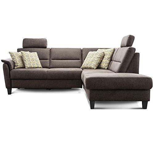 Cavadore Ecksofa Palera mit Federkern / L-Form Sofa mit Ottomanen rechts / 236 x 89 x 212 / Büffellederoptik Braun