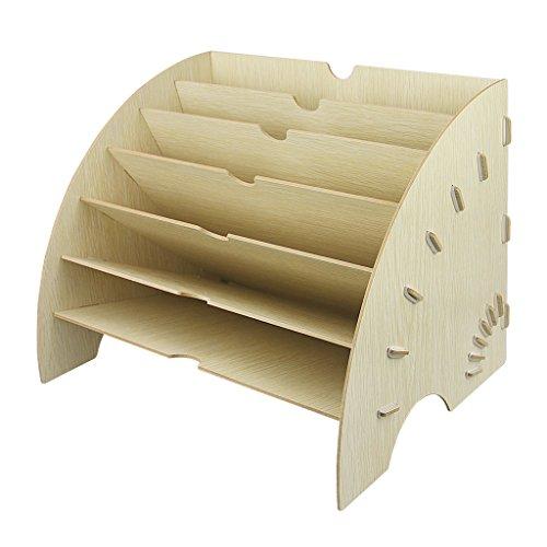 ファイルボックス 木製 書類トレー レターケース 扇形 本立て ファイルスタンド a4資料 雑誌 新聞 書類入れ 多機能 仕切り付き 6ラック オフィス 机上用品 整理整頓 卓上ボックス 省スペース 事務用品 おしゃれ ベージュ