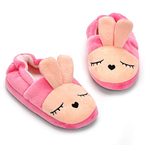 SeniorMar Mädchen Pink Bunny Hausschuhe Komfortable weiche Winter Kinder Baumwolle Hausschuhe Indoor Hausschuhe für Kleinkind Mädchen
