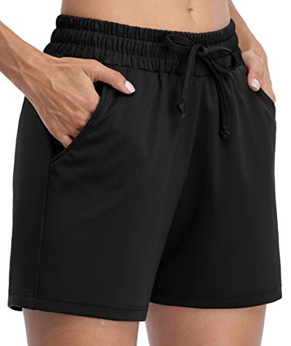 ATTRACO Women's Lounge Running Shorts Elastic Waist Gym Athletic Shorts with Pockets, Black(X-Large)
