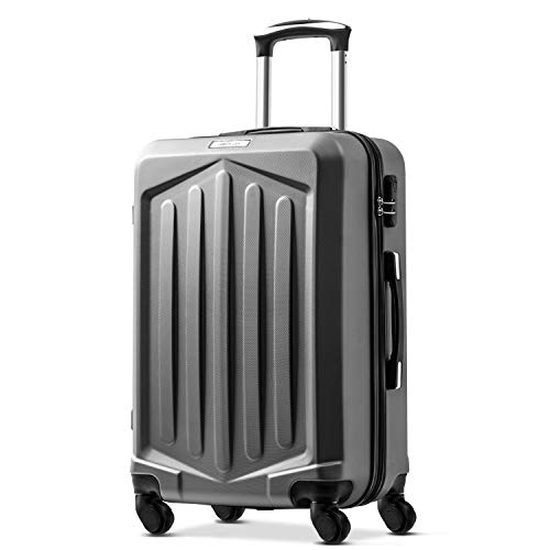 Nyyi Hard Shell Suitcases, Super Lightweight Suitcases, 4 Wheel Spinner Lightweight Suitcase, Carry on Cabin Hand Luggage Suitcase (24, Dark Grey)