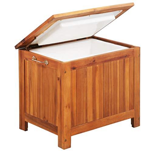 Tidyard Eisbox Getränkekühler aus massivem Akazienholz,Garten-Kühlbox Beistelltisch/Kühlbox Fußbank 63 x 44 x 50 cm,Wasserdicht und witterungsbeständig,36 L,Dank Handgriffe leicht zu bewegen