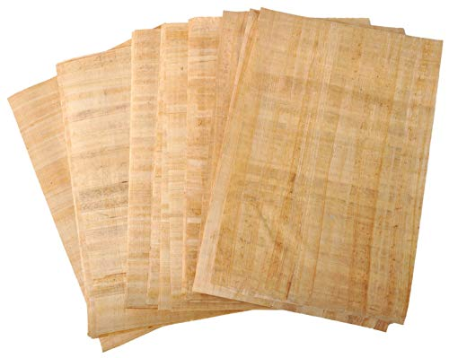Arts Of Egypt-Hand Made in Egypt Papyrus Blank Paper 50 Sheets for Art Projects Scrapbook Album Refill Scrolls Teaching Ancient Hieroglyphic and Alphabets to School Size 8 x 12 inch (20 x 30 cm) (50)
