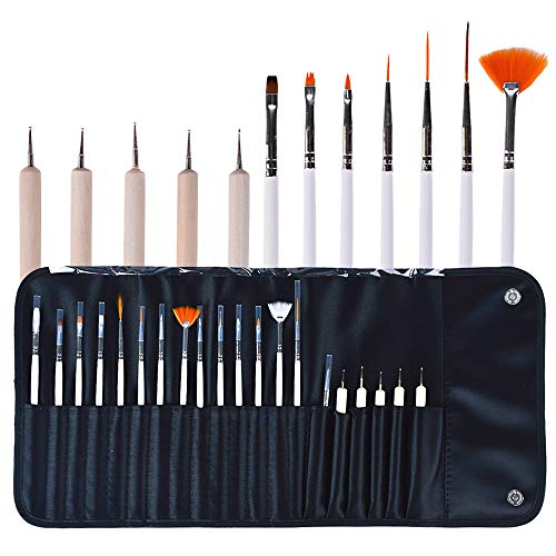20 pezzi Set di pennelli per nail art per la creazione di dettagli Pennello per unghie Miscelazione Pennelli per pittura Pennello 3D Strumento per punteggiare le unghie Pennello per ventaglio e
