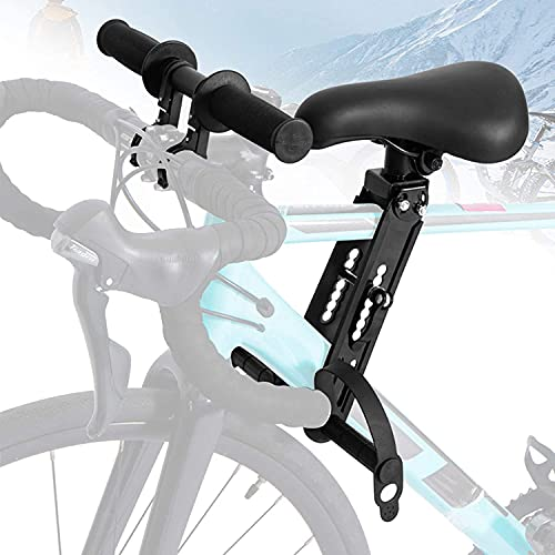 Kids Bike Seat with Handlebar Attachment, Detachable Front Mounted Child Bicycle Seats with Foot Pedals, Bike Attachment for Adult Bike Compatible with All Adult Mountain Bikes