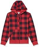 Amazon Essentials Big & Tall Full-Zip Hooded Fleece Sweatshirt Sudadera con Capucha, Rojo, a Cuadros, XXL