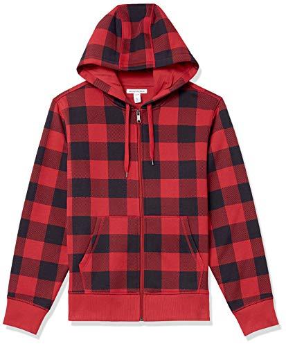 Amazon Essentials Full-Zip Hooded Fleece Sweatshirt Sudadera con Capucha, Rojo, a Cuadros, XS