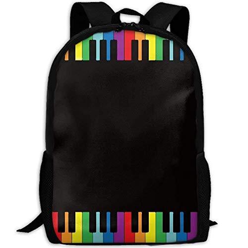 NA Rugzak Regenboog Piano Toetsenbord Womens Laptop Rugzakken School Tas Reizen Daypack