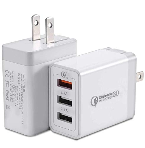 LANilianhuqa 2PACK-Quick Charge 3.0 Dual-Port Ultra-Fast USB Wall Charger 31.5W, Tizon Voyage QC 3.0 for Samsung Galaxy, LG, HTC, Sony, and I+Power for iPhone, iPad &More