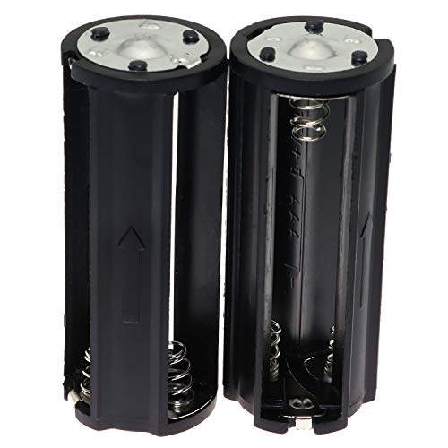 E-outstanding AAA Battery Holder 2PCS Black Cylindrical 3x1.5V AAA Plastic Battery Storage Adapter Case Box for Flashlight Lamp RC (Dia 0.85 inch)