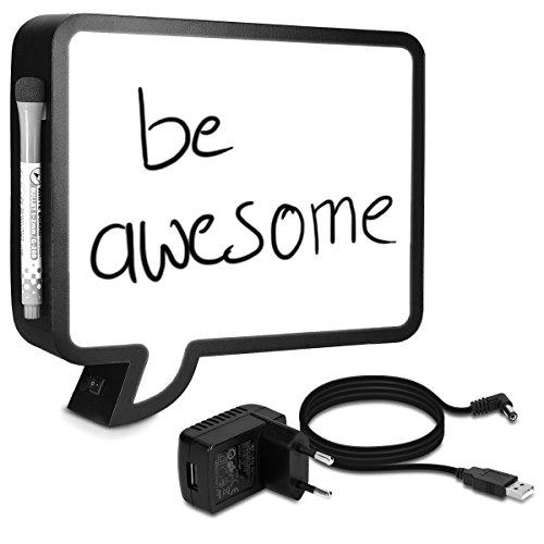Navaris LED Lichtbox Memo Sprechblase - USB Netzteil und Marker - Beschreibbare DIY Metall Lightbox Lampe - Light Box Stimmungslampe - Deko Leuchtbox