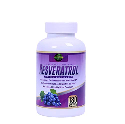 41RQOslpmqL - Resveratrol Supplement for Whole Health, 90 Day Supply Antioxidant Capsules Resveratrol 1000mg for Brain Health and Cardiovascular Support, Maximum Strength Resveratrol Anti-Aging Supplement