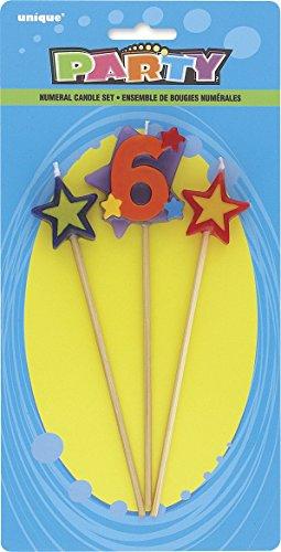 Unique Party 34046 - Numero 6 Stella Candeline di Compleanno Set di 3