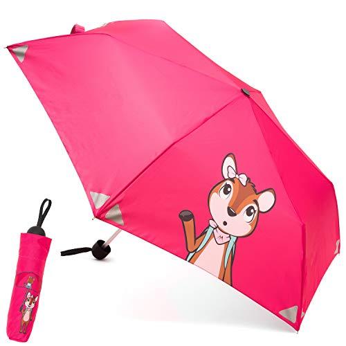 Monte Stivo® Friends Schirm | Leichter Kinder-Regenschirm für Jungen & Mädchen | Reflektierend Klein & als Geschenk