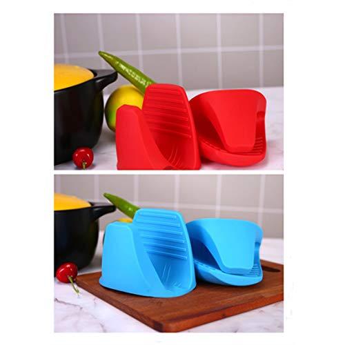 Panamami 2-teiliges Silica Gel Anti-Verbrühung Schüssel und Tellerklemme, Isolierschelle für die Küche, Isolierer, Backen, Ofenhandschuh, blau, Einheitsgröße