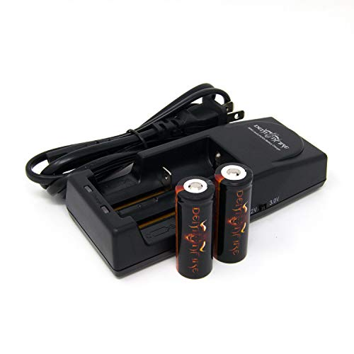 Demonfire 18500 1300mAh 3.7V High Drain LiMn IMR Rechargeable Battery with Button Top (2 Pieces) & Demonfire D1 Charger