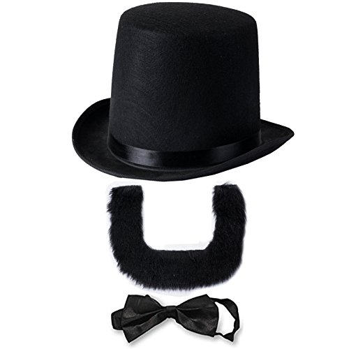 Abraham Lincoln Costume Set - Hat with Beard and Necktie- Presidents day- Lincoln's Birthday- Patriotic Costume by Funny Party Hats (3 PC Set)