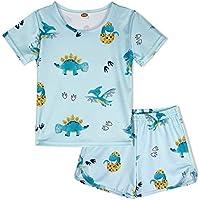 ModaIOO Chicas Dinosaurio 2 Piezas Conjunto Pijamas Manga Corta(8017,150,Gold)