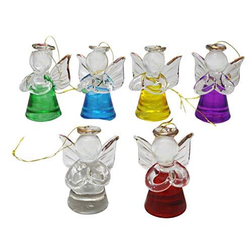 MaMeMi SECHS Glasengel glitzernd/Herz bunt * 6 Farben Sortiert nach Verfügbarkeit