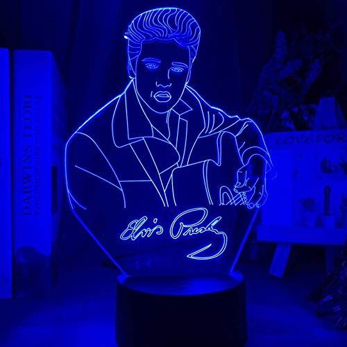 YOUPING 3D Illusionslampe LED Nachtlicht Elvis Presley Figur Farbe Ändern der Hinterwäldler Katze König des Westens Pop Schlafzimmer Fans Geschenk Kinderzimmer Dekoration