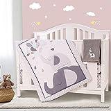 Honkaii Elephants Crib Bedding Sets for Boys 4 Pcs , Baby Girls Bedding Set Included Comforter, Fitted Sheet, Crib Skirt & Diaper Stacker for Nursery Standard Size Neutral (Gray)