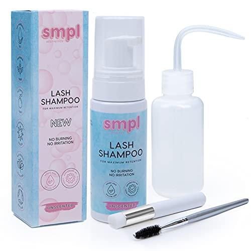 SMPL Aesthetics Eyelash Extension Cleanser – Lash Shampoo/Eyelid Cleanser for Extensions + Brush + Rinse Bottle + Free eBook – Sensitive/Paraben & Sulfate Free, Makeup Remover/Primer - Unscented