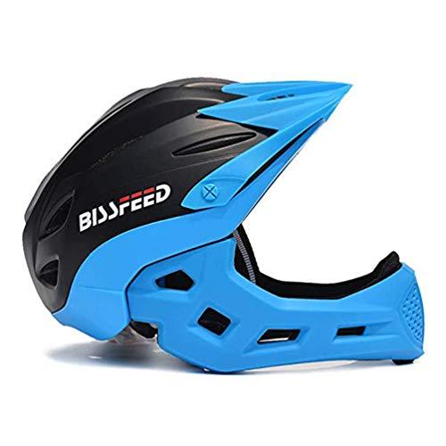 XGYUII Kind-Breathable Helm Skateboard Sportschutzhelm Vollhelm Schlagfestigkeit Motorrad-Sturzhelm Kinderhelm 4-10 Jahre alt,Blackandblue