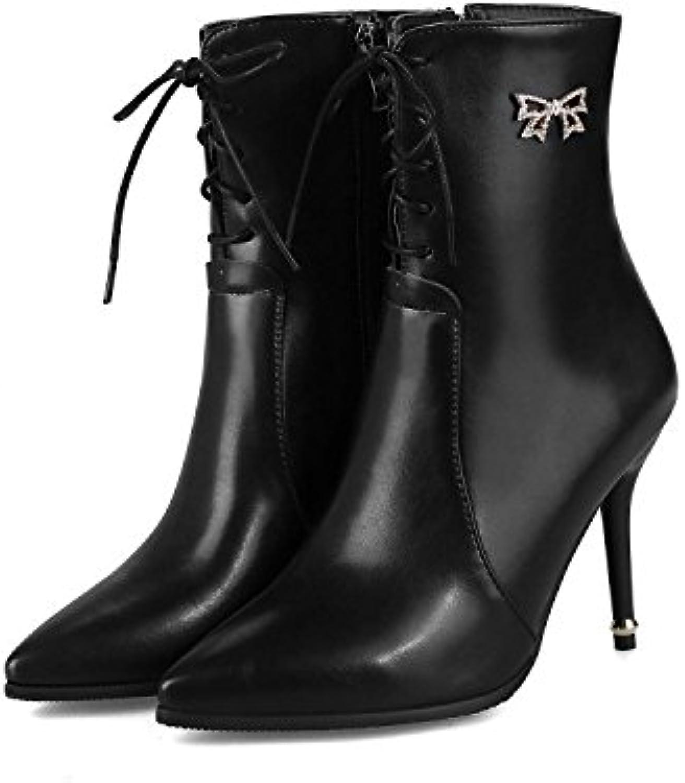 HOESCZS Stiefel Damen Woherren High Heels Winter Damen Stiefel Stiletto Weibliche Super Größe Code 32 46 Kurze Schlauch Martin Stiefel