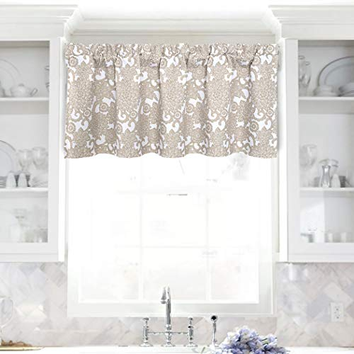 DriftAway Daisy Dahlia Blooming Flower Floral Lined Thermal Insulated Energy Saving Window Curtain Valance 2 Layers Rod Pocket 52 Inch by 18 Inch Plus 2 Inch Header Beige 1 Pack