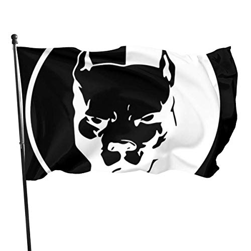 Bandera decorativa RROOT Pitbull Dad duradera resistente a la decoloración con ojales de poliéster para exteriores para todas las estaciones y días festivos, 3 x 5 pies