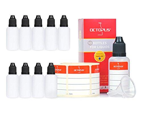 10 x 30 ml Liquidflaschen mit Trichter + Etiketten: für E-Liquids, E-Zigaretten, Plastikflaschen aus PE LDPE, Dosierflaschen, Tropfflaschen bzw. Quetschflaschen + schwarze Deckel mit Kindersicherung