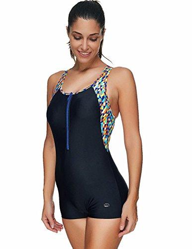 Coolweary Women's Fashion Patchwork Racerback Sports One-Piece Swimwear Swimsuit Black X-Large