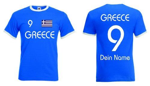 Fruit of the Loom Griechenland Herren Retro T-Shirt Wunschname & Nummer|r-s