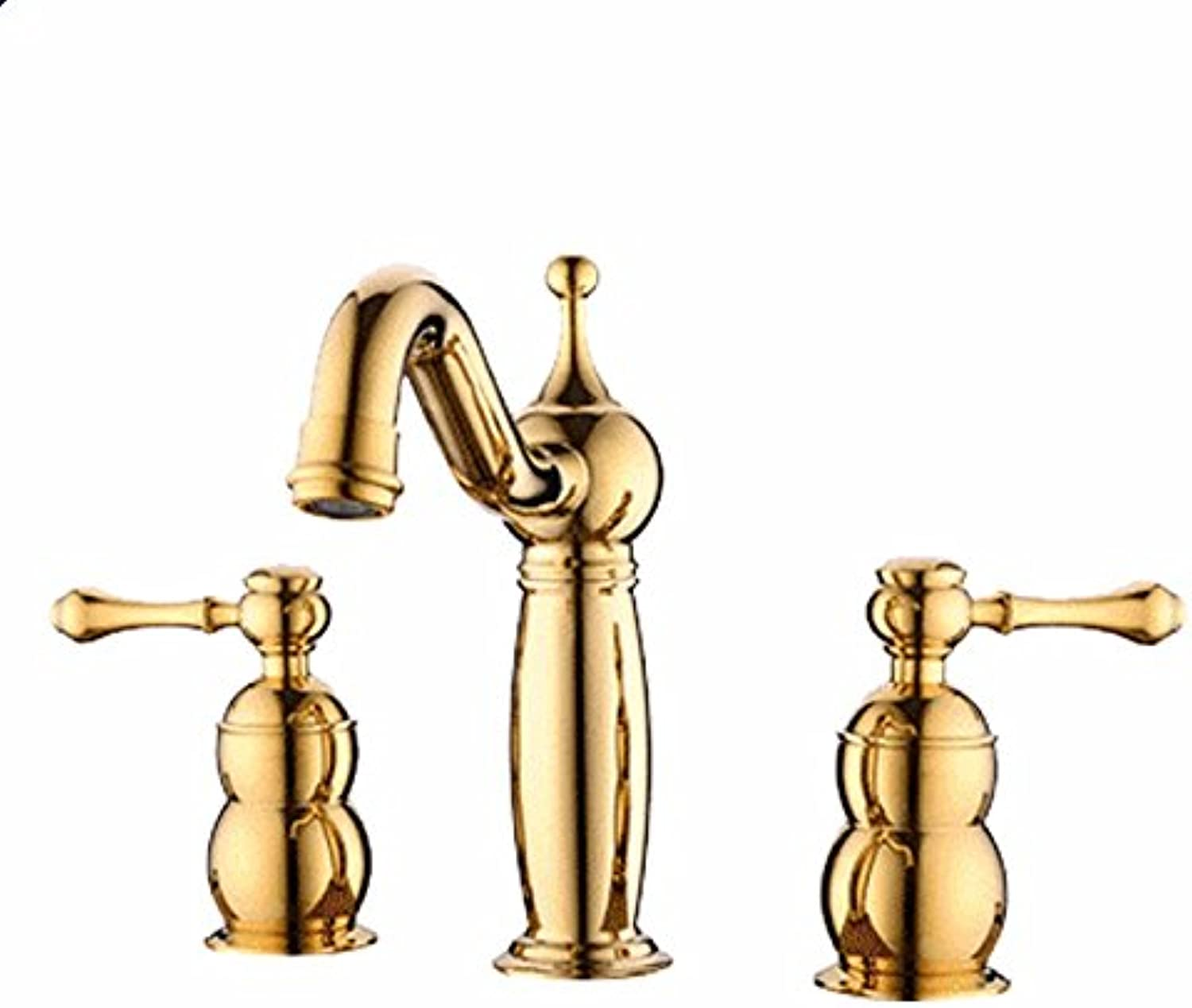 LHbox Basin Mixer Tap Bathroom Sink Faucet The copper three hole basin faucet continental antique three piece split double-double-controlled hot and cold wash-basin mixer