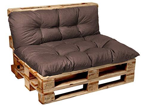 Garden Factory Palettenkissen Palettenauflagen Sitzkissen, Rückenlehne, Set, Gesteppt (Sitzkissen 120x80, Braun)