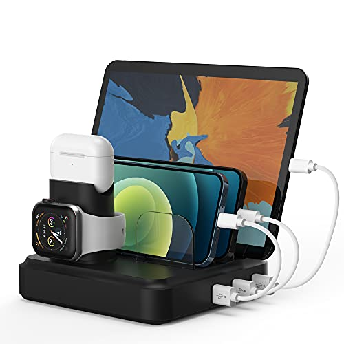 Charging Station for Multiple Devices, 5-Port Charging Dock with 4 Mixed Cables, UL Listed USB...