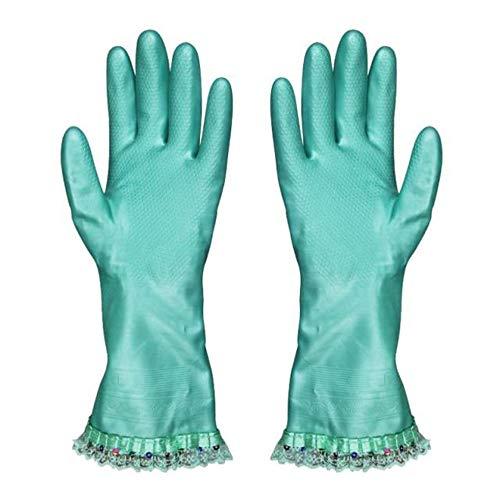 Kanten look Goede Mode Huiswerk Vaatwasser Wasserij Schoonmaak Plus Katoen Warm En Duurzaam Fluweel Latex Rubber Handschoenen