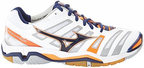Mizuno Herren Wave Stealth American Handball Schuhe, Mehrfarbig (White/bluedepths/orangeclownfish), 45 EU - 6