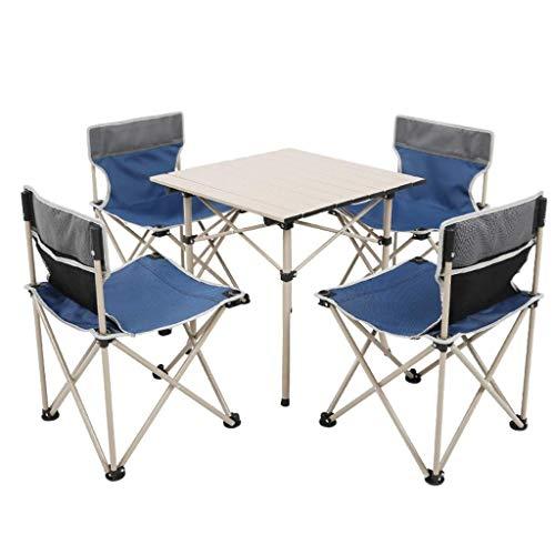 Acampar Mesa y sillas Conjunto, Plegable Mesa de Camping con 4 sillas de Ocio al Aire Libre Barbacoa 4 Persona Jardín Portable fijaron BTZHY (Color : Blue)