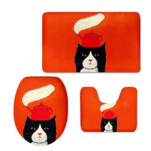 YSDDM badmat 3 stks zacht flanel badkamer voetstuk tapijt set kinderen badmat douchemat badkamer tapijt schattig kat niet slip wc stoel Cover-in wc stoelhoezen van huis & tuin