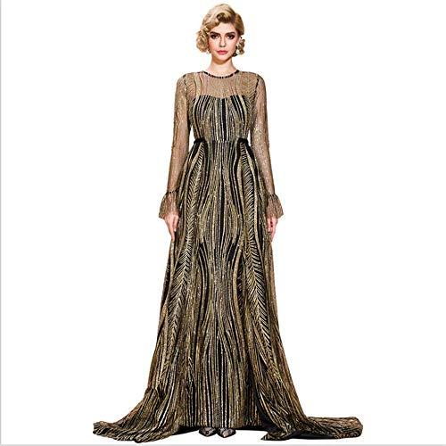 FTFTO Wohnaccessoires Einteiliges Kleid Sexy Perspektive Gefälschtes zweiteiliges Wischen Abendkleid Damen Langes goldenes Kleid S.