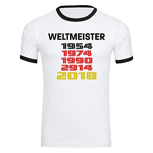 Multifanshop - Maglietta Germania con scritta 'Weltmeister und Jahren rétro 1954 1974 1990 2014 2018, da uomo, taglia S-2XL, Uomo, bianco, M
