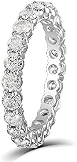 DovEggs Solid 14K White Gold 1.45CTW 2.5mm G-H-I Color Moissanite Eternity Engagement Ring Wedding Band for Women