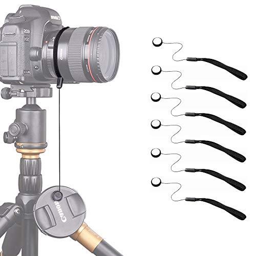 Kiwochy 6 Stück Universal Objektivdeckel Halter mit Schnur für Lens Caps mit Gummiband passend Qualitäts Lens Cap Keeper String für alle Canon Nikon Sony Pentax Fuji Panasonic Samsung Schwarz