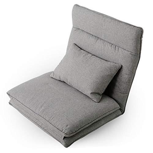 XUFAN Lazy Floor Divano Bed Lounge Sedie Lazy Man Couch con Cuscini per Camera da Letto Soggiorno Mobili Chaise Lounge Sedia reclinabile Poltrona reclinabile (Color : Grey Color)