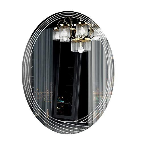 AOIWE Espejo de baño ovalado montado en la pared del lavabo espejo del baño espejo de maquillaje del baño/espesor 5 mm / tamaño 60 x 80 cm