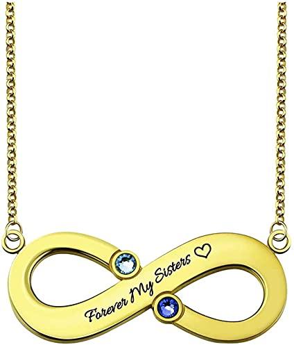 Collar de plata de ley 925 para mujer Lakabara, collar de corazón con 2 piedras de nacimiento, collar de doble corazón con dos nombres grabados, oro 20.0