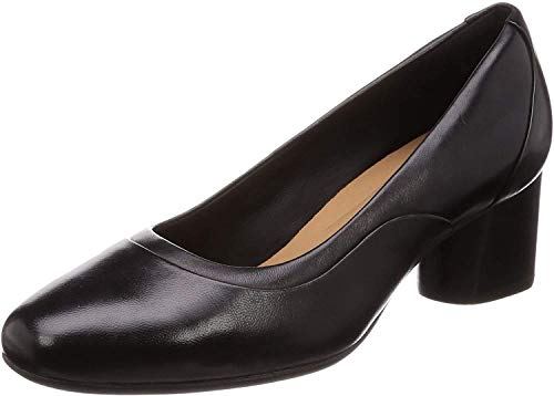 Clarks Un Cosmo Step, Zapatos de Tacón Mujer, Negro (Black Leather Black Leather), 42 EU